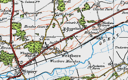 Old map of Westbere in 1920