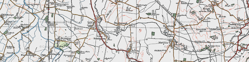 Old map of Westborough in 1921