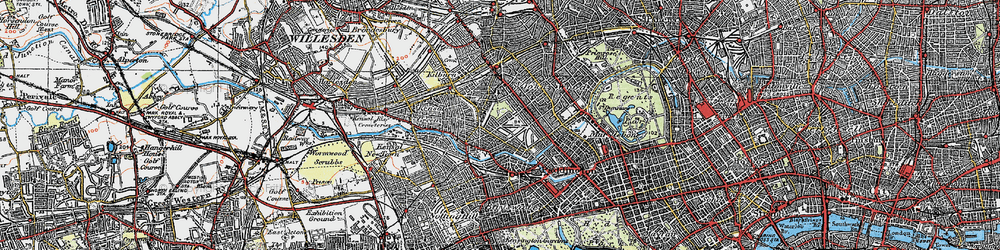 Old map of Westbourne Green in 1920
