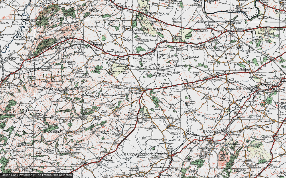 Old Map of Westbury, 1921 in 1921