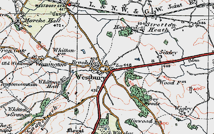 Old map of Westbury in 1921