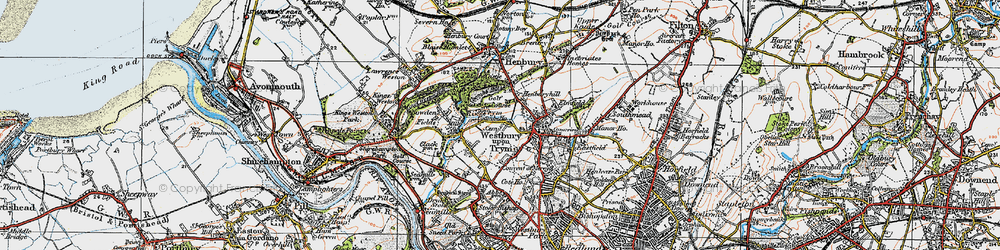 Old map of Westbury on Trym in 1919