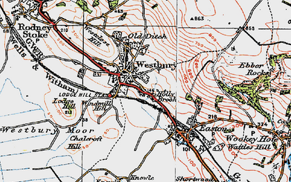 Old map of Westbury-sub-Mendip in 1919