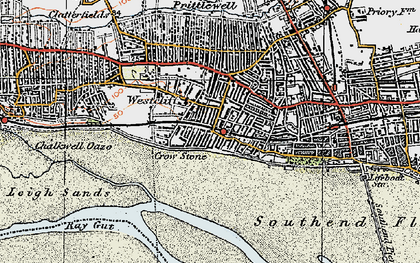 Old map of Westcliff-on-Sea in 1921
