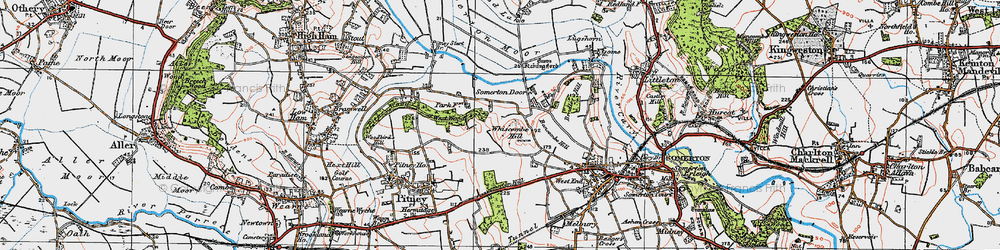 Old map of Whiscombe Hill in 1919