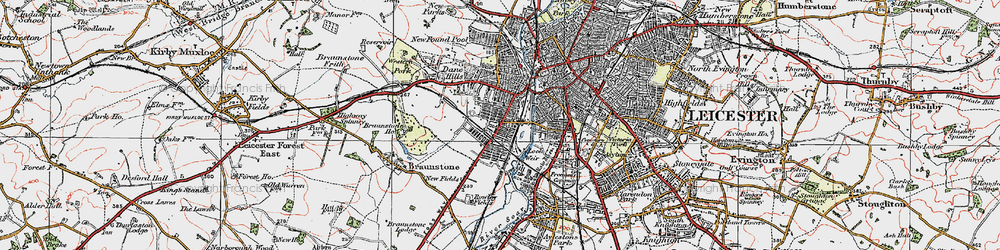 Old map of Westcotes in 1921