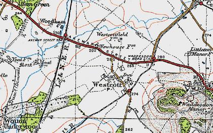 Old map of Westcott in 1919