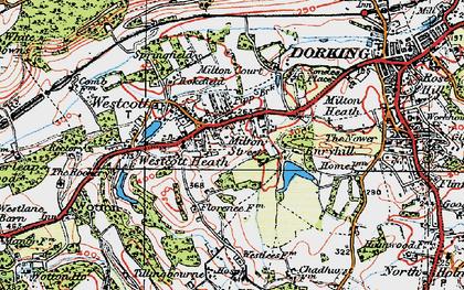 Old map of Westcott in 1920