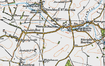 Old map of Westcott Barton in 1919