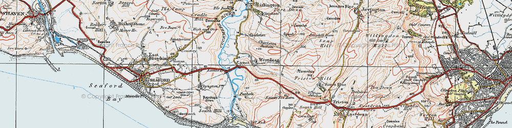 Old map of Westdean in 1920