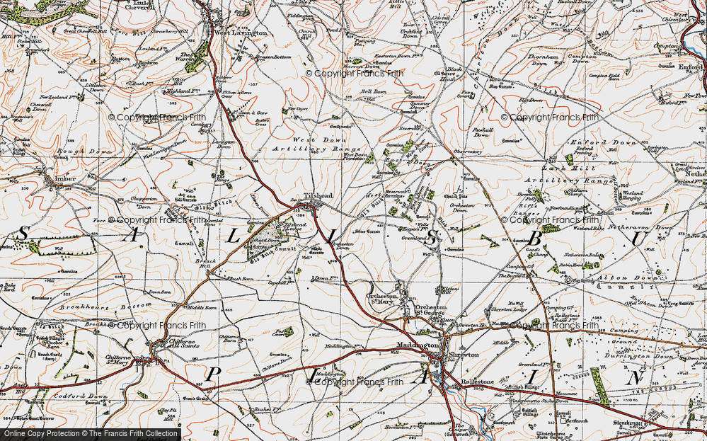 Old Map of Historic Map covering Ball Down in 1919