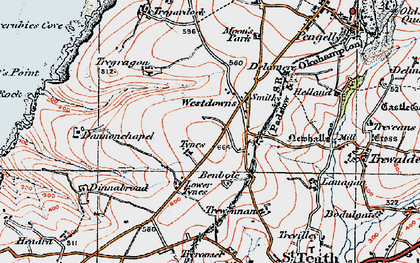 Old map of Westdowns in 1919