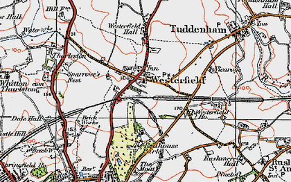 Old map of Westerfield in 1921