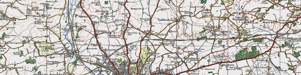 Old map of Westerfield Ho in 1921