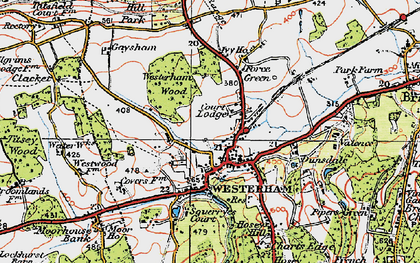 Old map of Westerham Wood in 1920