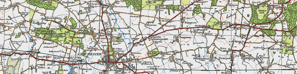 Old map of Westhampnett in 1919