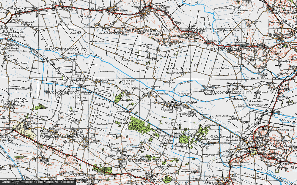 Old Map of Historic Map covering Westhay Heath in 1919