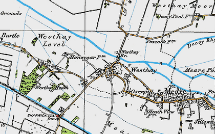 Old map of Westhay Level in 1919