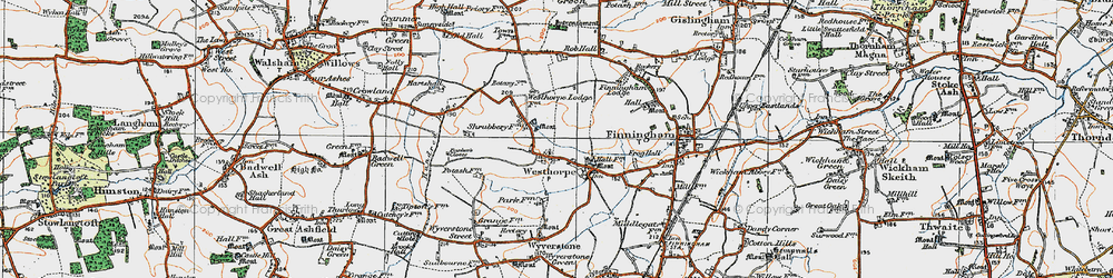 Old map of Westhorpe in 1920