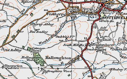 Old map of Westhorpe Dumble in 1921