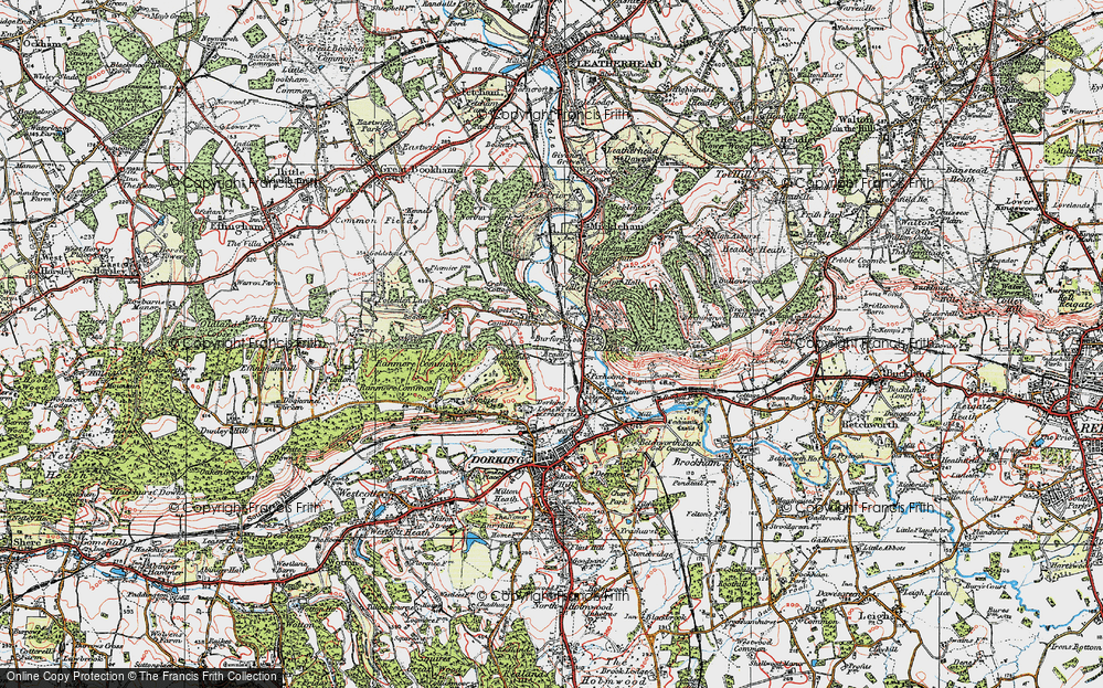 Old Map of Historic Map covering Ashcombe Wood in 1920