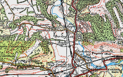 Old map of Ashcombe Wood in 1920