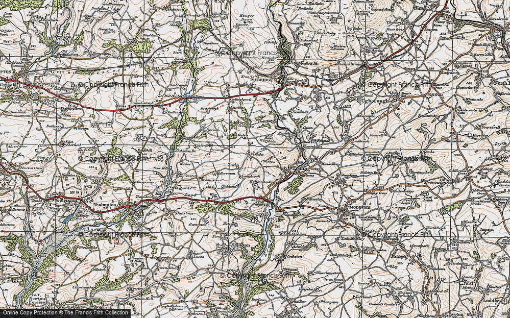 Old Map of Historic Map covering Tod Moor in 1919