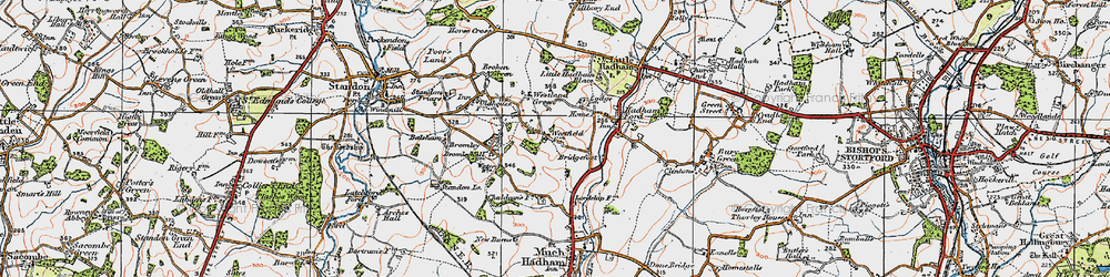 Old map of Westland Green in 1919
