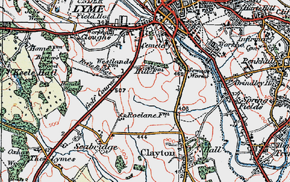Old map of Westlands in 1921