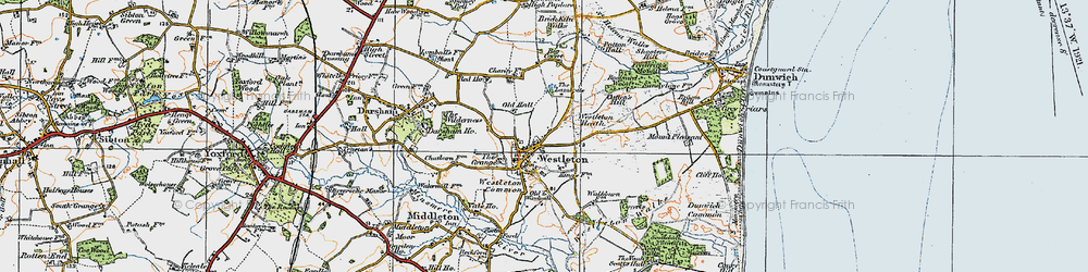 Old map of Westleton in 1921