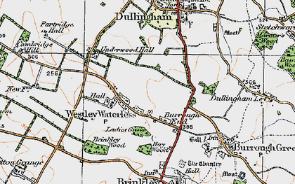Old map of Westley Waterless in 1920