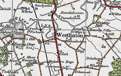 Old map of Westlinton in 1925