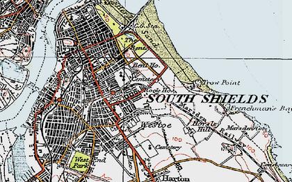 Old map of Westoe in 1925