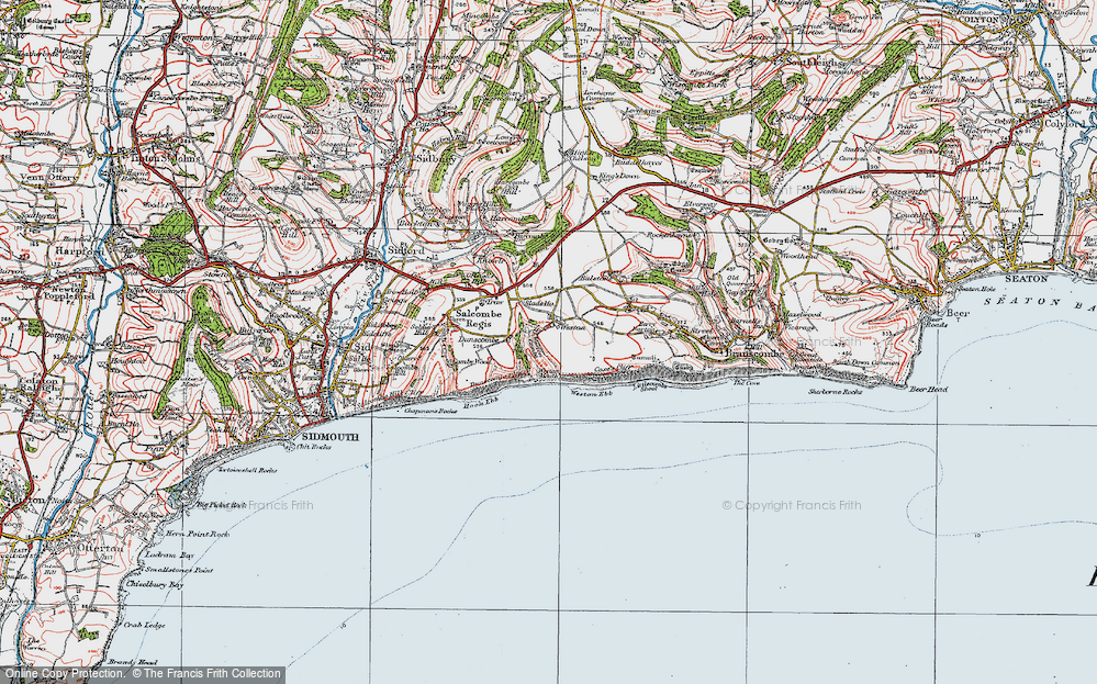 Old Map of Historic Map covering Weston Mouth in 1919