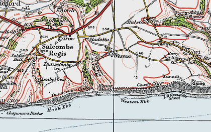 Old map of Weston Ebb in 1919