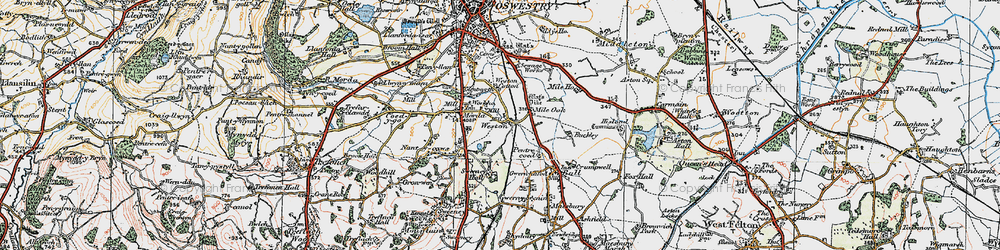 Old map of Weston in 1921
