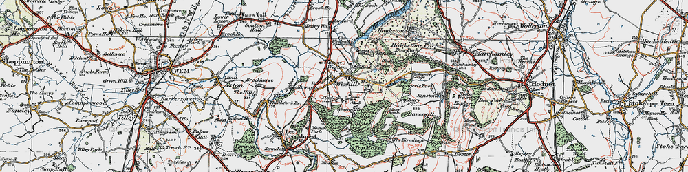 Old map of Weston Heath Coppice in 1921
