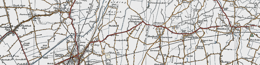 Old map of Weston in 1922