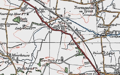 Old map of Weston in 1923