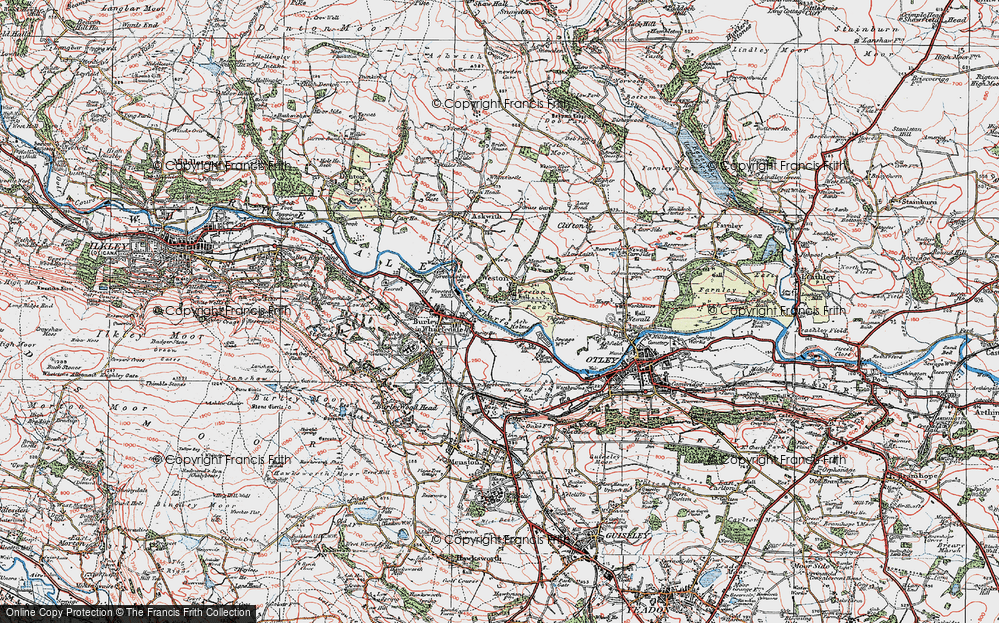 Old Map of Historic Map covering Ash Holme in 1925