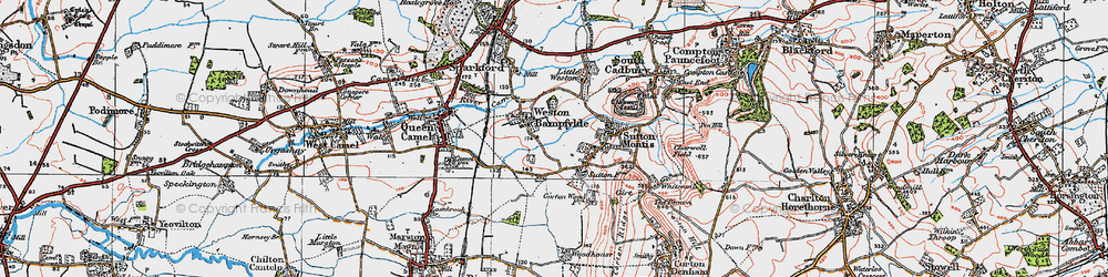 Old map of Weston Bampfylde in 1919