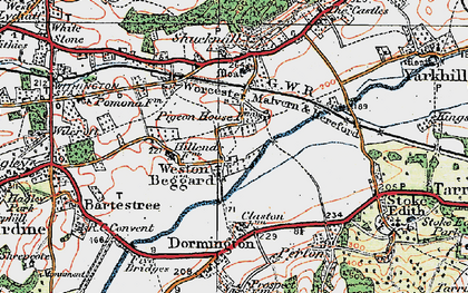 Old map of Weston Beggard in 1920