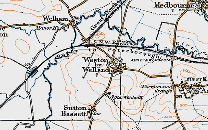 Old map of Weston by Welland in 1920