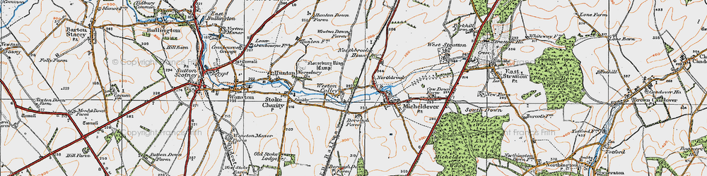 Old map of Weston Colley in 1919