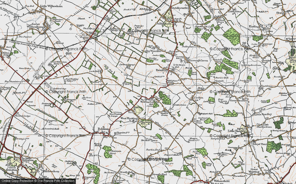 Old Map of Weston Colville, 1920 in 1920