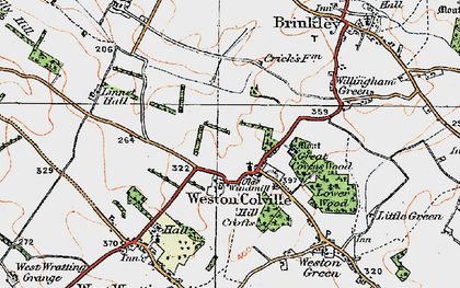 Old map of Weston Colville in 1920