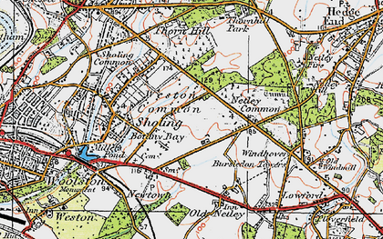 Old map of Weston Common in 1919