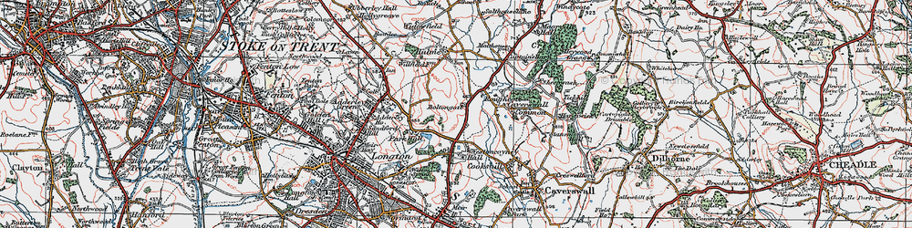 Old map of Weston Coyney in 1921