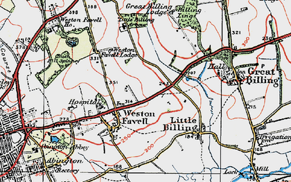 Old map of Weston Favell in 1919