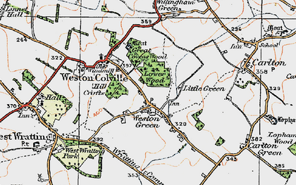 Old map of Weston Green in 1920